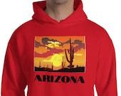 Arizona Hoodie / Mens (or womens oversize) / Hiking / Camping / Desert / Cactus / Saguaro
