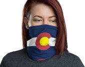 Unisex Face Mask / Neck Gaiter for women and men - Colorado C (CO State Flag)