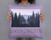 Washington Pillow / Adventure / Forest / VanLife / Decorative Accent Throw Pillow 18x18