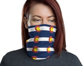 Colorado C Face Mask / Neck Gaiter / Ski Buff - unisex for men or women / Small Colo State Flag Design