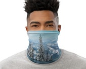 Snowy Mountain Face Mask / Neck Gaiter / Buff - unisex for men and women - Snow / Ski / Forest / Winter Scene / Trees / Cold / Beautiful