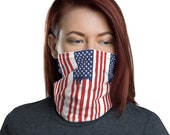 American Flag Neck Gaiter / Face Mask / Ski Buff / US Stars and Stripes / Edgy Print / unisex for men and women
