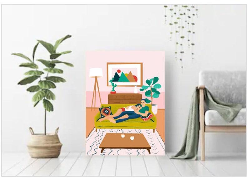 NEW LOVE Couple illustration Bohemian Living room image 0