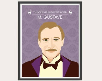 SALE - Set of 2 Prints, The Grand Budapest Hotel - Portraits, Wes Anderson movie illustration.