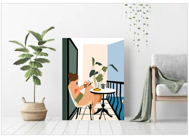 Balcony Girl illustration House Plant Drawing Strong Woman image 0