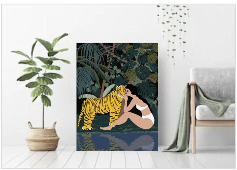 Jungle Girl and Tiger illustration Plant Lady Print Monstera image 0