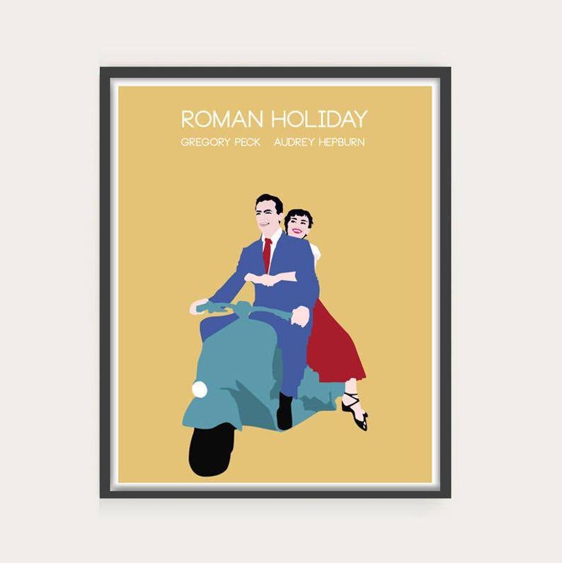 NEW Roman Holiday Audrey Hepburn Minimal Movie Poster. image 0