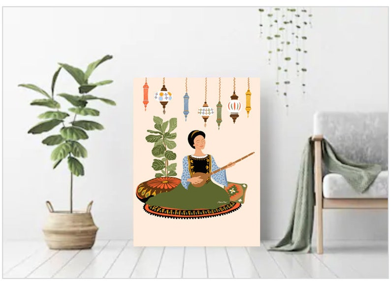 Folk Art Musician illustration Bohemian Living room Poster image 0