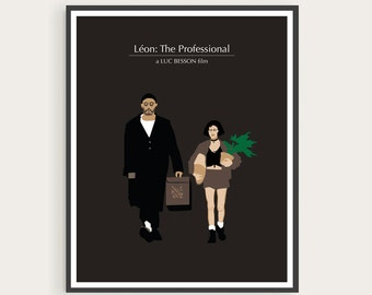 Léon: The Professional (1994), Luc Besson, Jean Reno, Natalie Portman, Minimal Movie Poster.