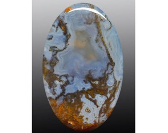 Texas moss agate 62.73 ct oval cabochon 53.1 x 32.9 mm y30395 Gray Blue Loose Gemstone Rare Gem