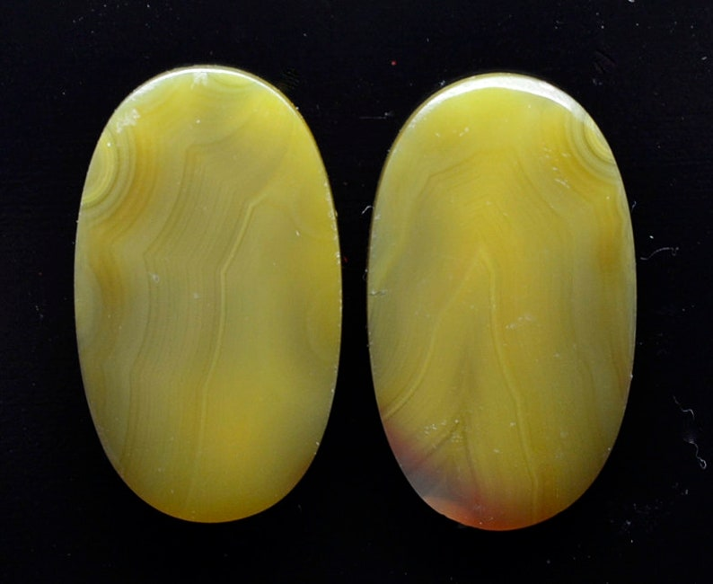 Agate creek 15.74 ct oval pair cabochon 21.8x12.7 mm Australia y32581 Paired Rare Cabs Loose Gem Stone White Yellow Gemstones Jewelry Making