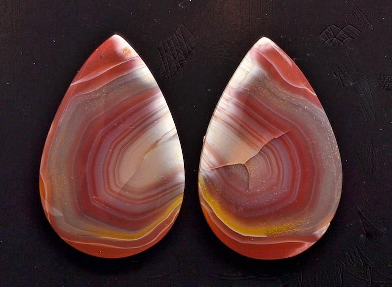 Agate creek 42.20 ct drop pair cabochon 33.0 x 21.3 mm Australia y32681 Red Cab Gemstone Loose Gem Stone Paired