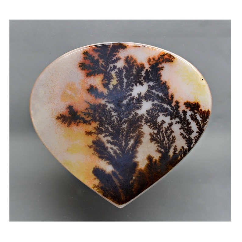 Fancy Cabochon 50.80 x 46.60 mm y100948 Brown and Beige Gemstone Cab Loose Gem Stone Smooth Dendritic Agate 47.89 ct
