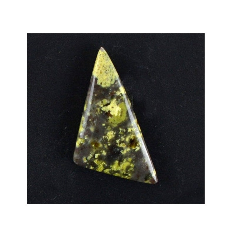 Lizard stone 11.43cts Triangle Cabochon Gemstone 31.50 x 15.80mm H3.5-5 China M0032 Cab Yellow Loose Gem Stone Rare