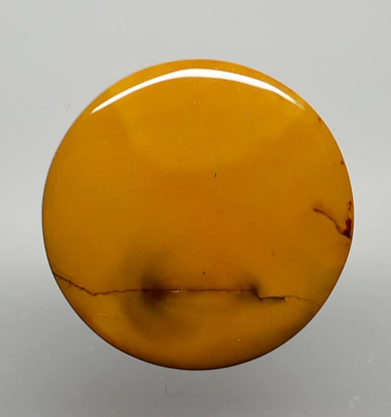 Mookaite jasper 50.63 ct round cabochon 36.9 mm Australia y30907 yellow gold brown Cab Gemstone Loose Gem