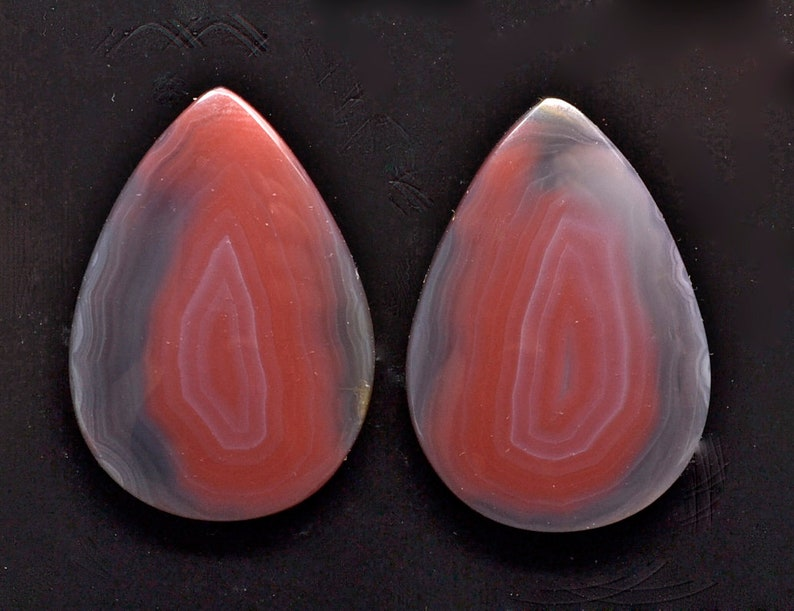 Agate creek 32.82 ct drop pair cabochon 28.6 x 20.1 mm Australia y32674 Pink Red Cab Gemstone Loose Gem Stone Paired