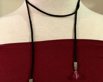 "choker necklace,38"" long, crystal glass beads"