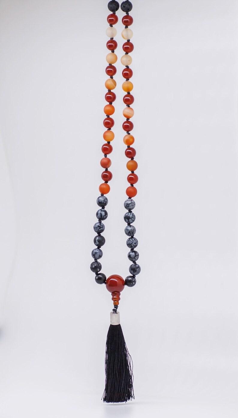 Lava Stone Snowflake Obsidian Hand-Knotted 108 Beaded 8mm Gemstone Goddess Mala Necklace Carnelian