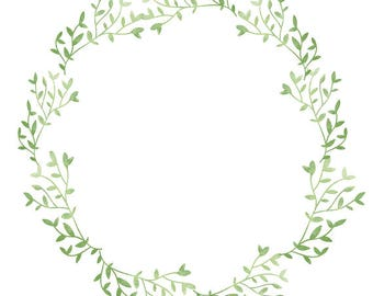 Greenery Clipart Wedding Watercolor Wreath Minimalist Bridal Shower