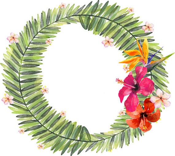 tropical wreath watercolor leaves tropical clipart watercolor etsy rh etsy com tropical clip art free printables tropical clipart