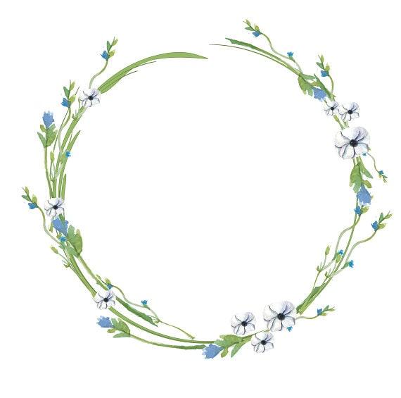 Couronne minimaliste cadre bleu blanc vert aquarelle Couronne   Etsy 17ee8b86713