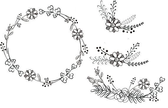 Noir Blanc Et Noir Clipart Fleurs Dessinée à La Main Couronne Et Couronne Minimaliste Clipart Bouquets