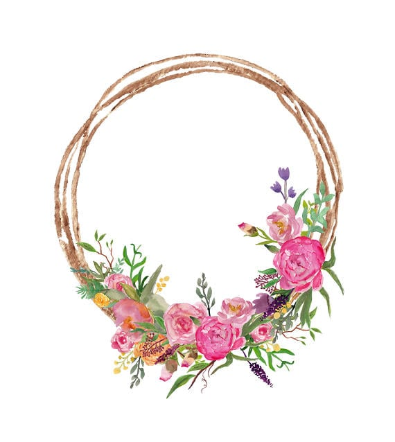 Watercolor wreath clipart pink flowers wreath with peonies etsy image 0 mightylinksfo