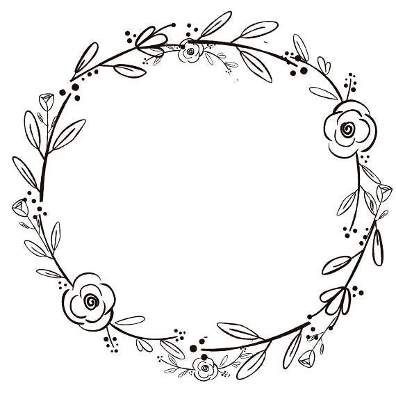 black clipart black flowers handdrawn wreath clipart etsy rh etsy com wreath clipart commercial use wreath clipart png