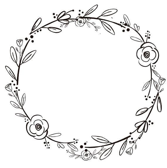 black clipart black flowers handdrawn wreath clipart rh etsy com wreath clip art black and white free wreath clip art black and white
