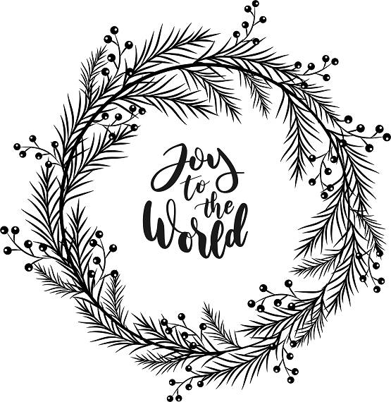 Joy To The World Wreath Printable Holly Wreath Clipart