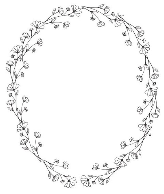 Oval Wreath Black White Clipart Wedding Clipart Minimalist | Etsy