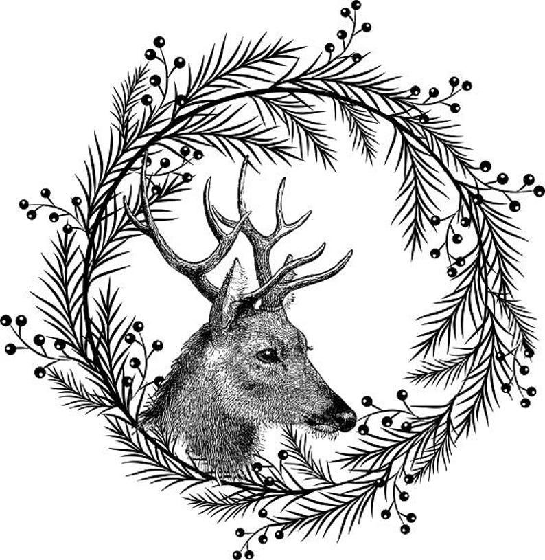 Deer Wreath Printable Holly Wreath Clipart Black Christmas