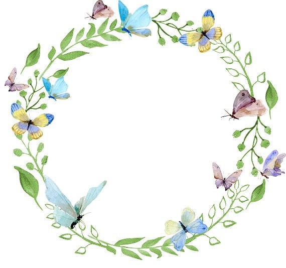photograph about Printable Wreath named Butterfly Clipart Watercolor Wreath Printable Wreath Watercolor Butterflies Wreath with Butterfly