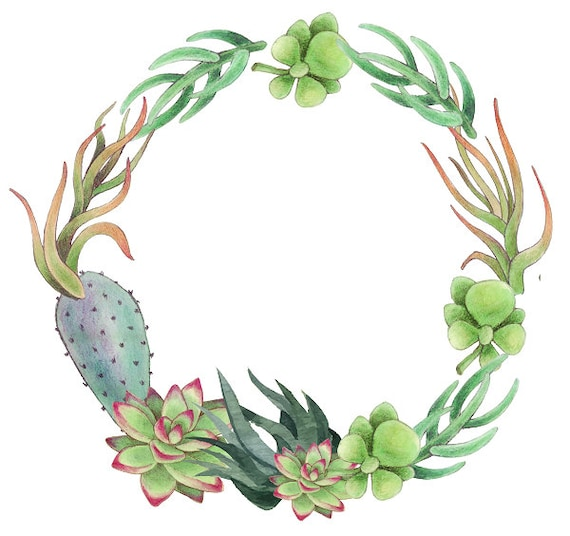 Succulents Clipart Cactus Wreath Greenery Frame Tropical | Etsy