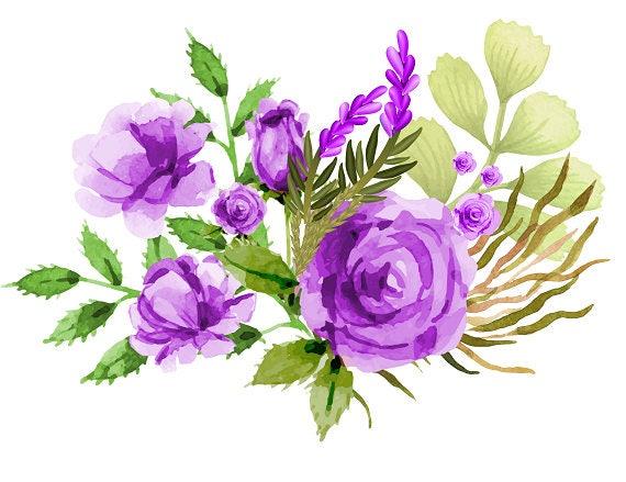 Items similar to Purple Bouquet Purple Roses Watercolor ...