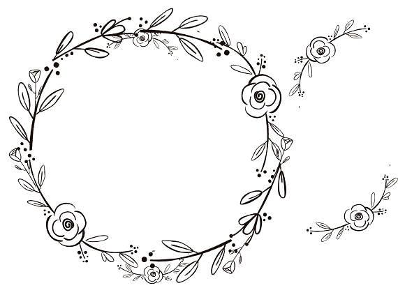 Black Clipart Black Flowers Handdrawn Wreath Clipart Etsy