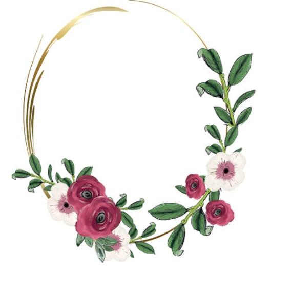 photo regarding Printable Wreath identified as Burgundy Wreath Gold Body Printable Wreath Burgundy Roses Clipart