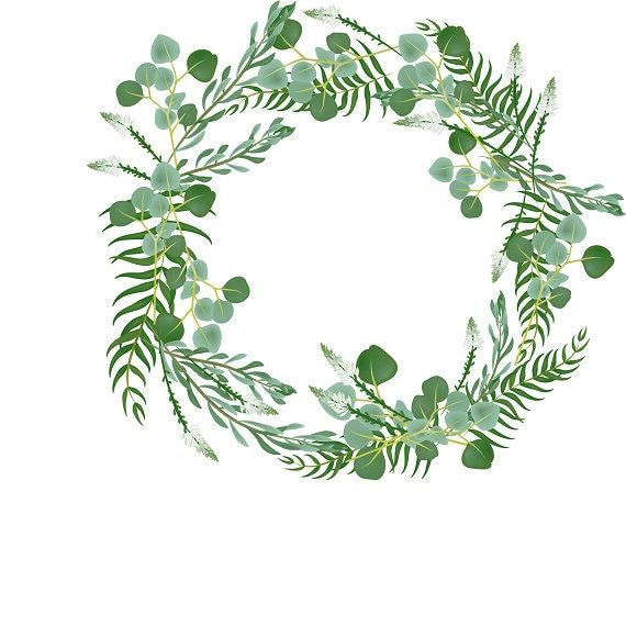 Verdure couronne eucalyptus clipart cadre palm feuille etsy - Clipart couronne ...