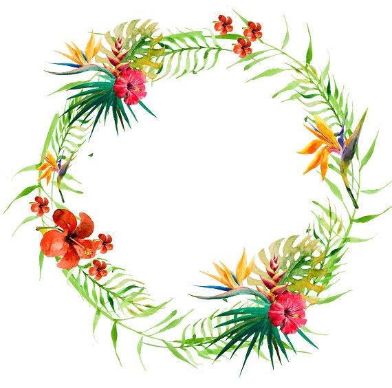 Tropical Wreath Tropical Clipart Tropical Flowers Tropical ...