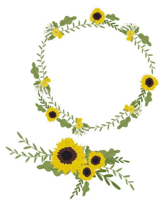 graphic relating to Printable Wreath identify Sunflower Clipart Sunflower Wreath Minimalist Wreath Printable Wreath