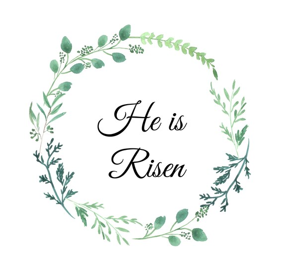 photo regarding He is Risen Printable named He is Risen Printable Easter Print Watercolor Wreath Greenery Minimalist Print Matthew 28:6