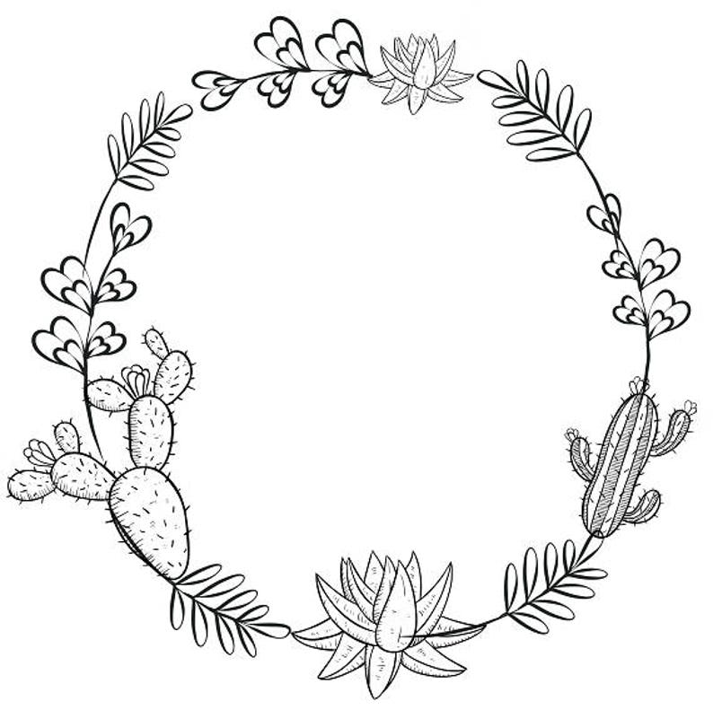 Cactus Clipart Minimalist Wreath Succulents Clipart Black
