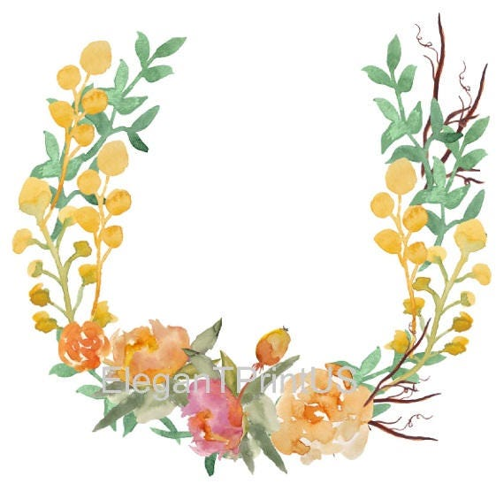 photo about Wreath Printable referred to as Yellow Wreath Printable Watercolor Wreath Yellow Wreath Clipart