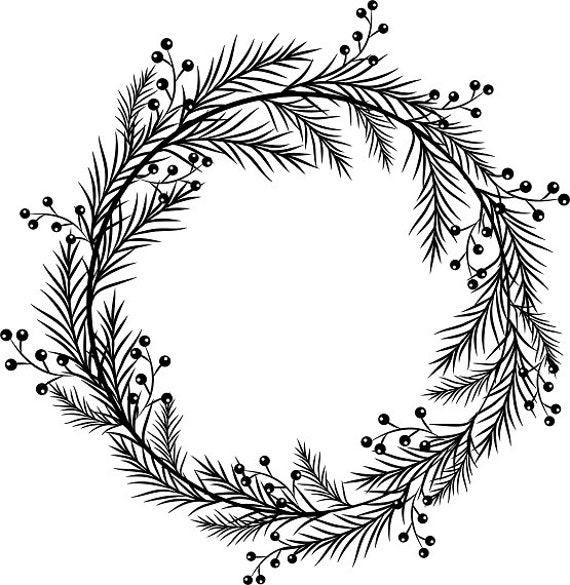 Black Wreath Printable Wreath Berry Clipart Christmas Frame | Etsy
