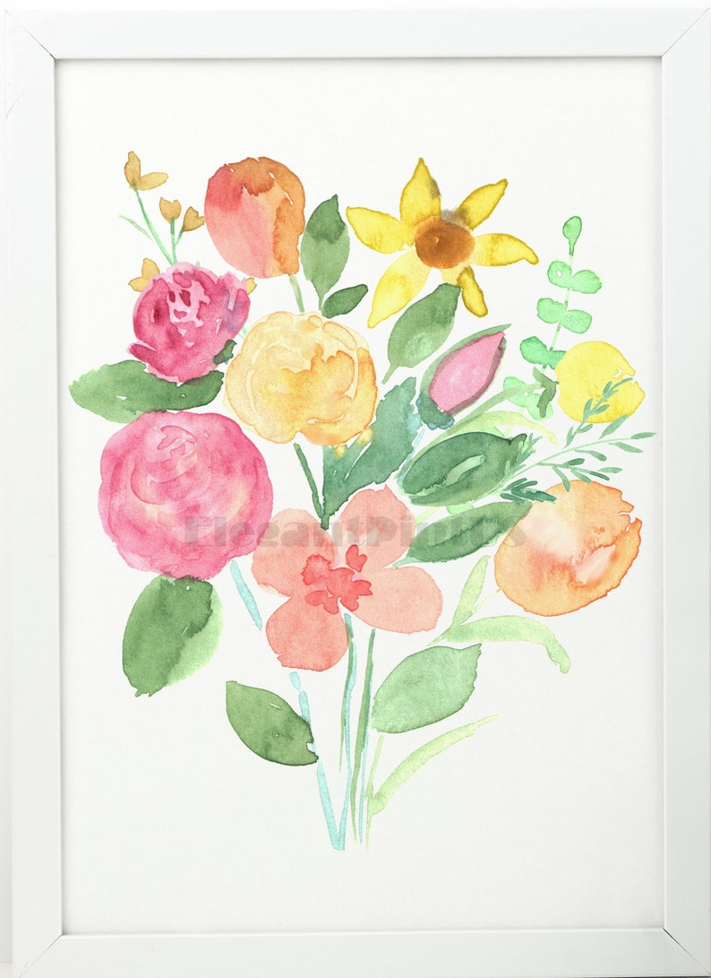 Floral Art Print Watercolor Floral Bouquet 2 Wall Poster Peony Etsy