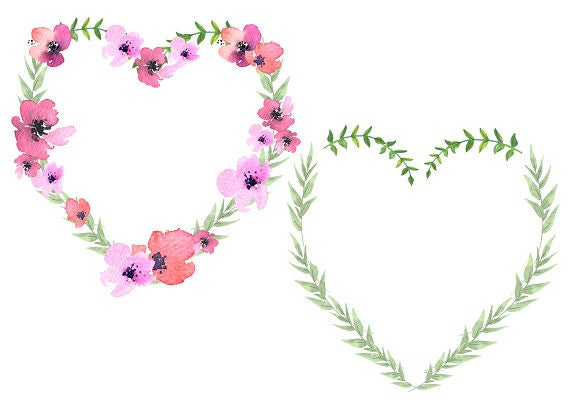 Heart Wreath Floral Heart Clipart Flower Heart Mother's | Etsy