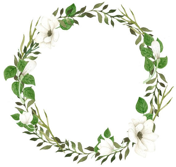 Green Wreath Clipart White Flowers Watercolor Wreath Anemone Etsy