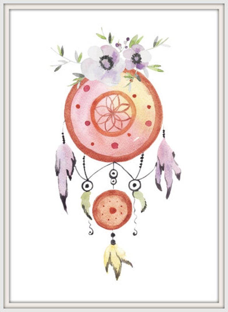 Dream Catcher Druku Czeski Plakat Purpurowe Kwiaty Druk Przedszkola Dekoracje ścienne Instant Download