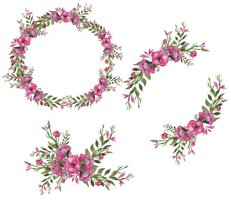 image about Printable Wreath named Deep Rose Printable Wreath Watercolor Wreath Floral Body Open up Wreath Electronic Clipart