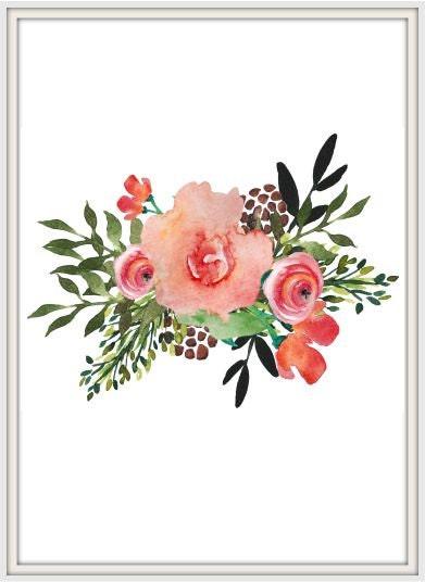 Watercolor Floral Bouquet Floral Print Wall Decor Nursery Etsy